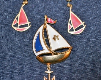 Vintage Nautical Sailboat Brooch and Earrings