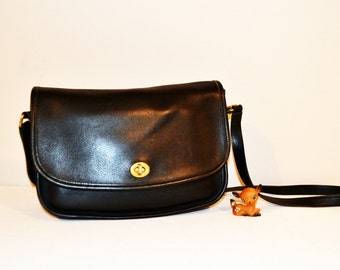Vintage Purse Black Coach Saddle