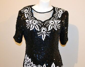 Vintage Sequin Blouse Glitz with White