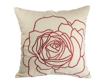 Red Rose pillow Cover, Throw Pillow Cover, Decorative Pillow,  Oatmeal Linen Red Rose Embroidery,Toss Pillow, Couch Pillow, Flower Pillow