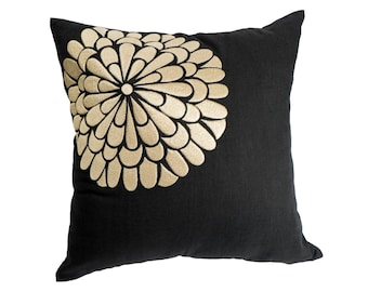 Beige Floral Pillow Cover, Black Linen Beigel Flock Flower Embroidery, Floral Couch Pillow, Beige Flower Cushion, Modern Home Decor
