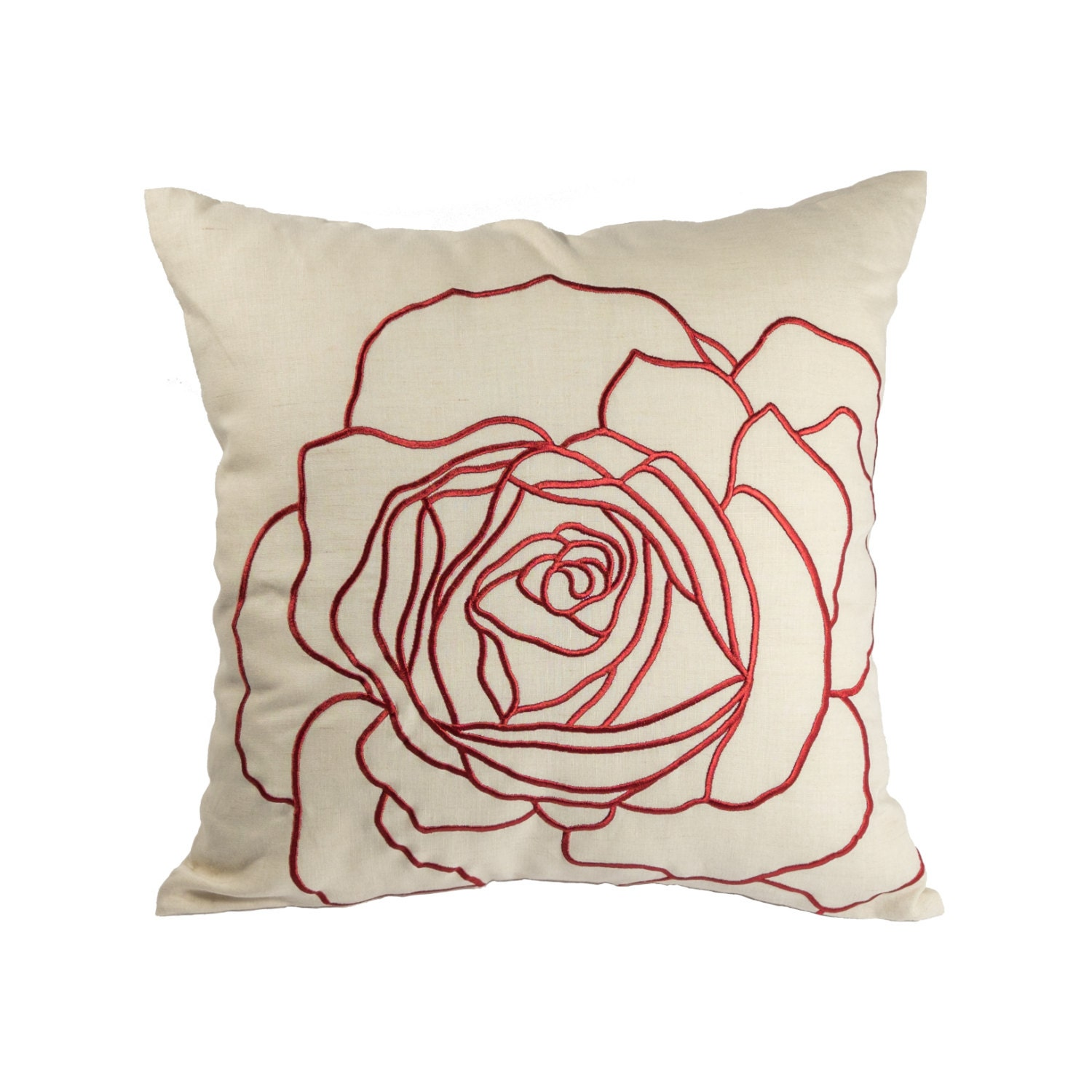 Decorative Pillows Etsy : Red Rose pillow Cover Throw Pillow Cover Decorative Pillow