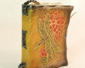 Dark Yellow Leather Journal with Dragon and Red Flowers on cover