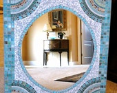 "Extra Large Mosaic Mirror in Aqua and Turquoise ""Fan"" Pattern//Home Decor//Wall Decor//Extra Large Mirror//Rectangular Mosaic Mirror"