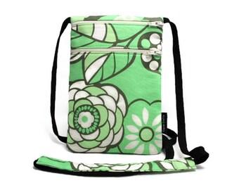 Flowers on Light Green Small Travel Pouch, Passport Holder, Sling bag, Travel accessory, Zipper pouch