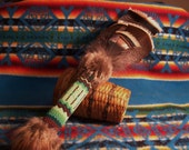 Smudge Fan Prayer Fan Beaded Handle Gourd stitch Turkey Feathers-Honoring Mother Earth