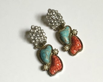 Turquoise, Coral, & Rhinestone Statement Earrings- Heirloom Collection