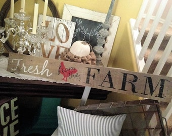 Reclaimed, Repurposed Pallet Wood- FRESH FROM the FARM sign- Country cottage, Farm House Living, Vintage & Rustic- Home Decor, Wall Hanging