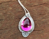 Hot Pink Teardrop Pendant, Pink Glass set in Sterling Silver
