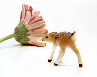 Vintage Miniature Deer Figurine , Bone China Japan Spotted Fawn Woodland 1960s , MINT Animal Mini Collectible