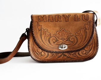 Mary Lu Vintage Hand Tooled Leather 1970's Hippie Boho Woodstock Shoulder Bag Purse Tote
