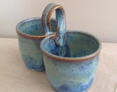 Blue Green Pottery, Stoneware Condiment Bowl, Ceramic Jewelry Holder, Candy Bowl, Desk Organization, Teachers Gift