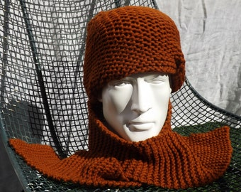 Hazel Brown Balaklava and Scarf Piece in Wool