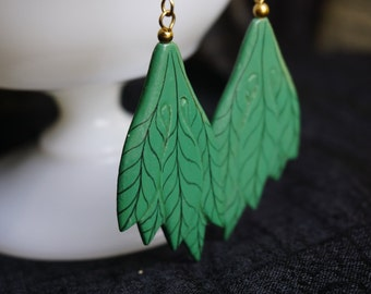 Hand Painted Leaf Earrings