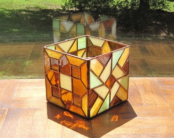 Glass Candleholder Stained Glass Candleholder Geometric Candleholder Brown Orange Cream Lime Candle Holder Stained Glass Box Geometric Box