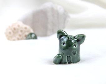 Little emerald green romantic Cat - Hand Made Ceramic Eco-Friendly Home Decor by studio Vishnya