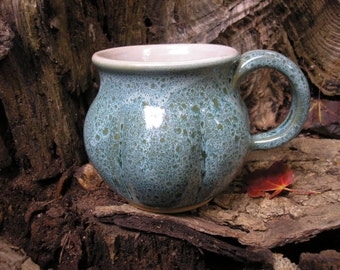 Gourd  Mug 15oz.,   glaze mug / tea mug/ coffee mug / sensuous feel, handmade pottery