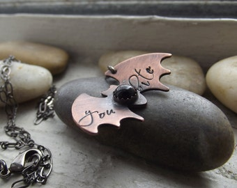 You Bite, Bat pendant, Rustic bat pendant, BFF gift, Girlfriend gift