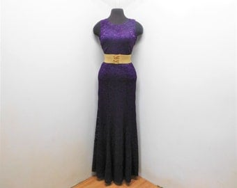 Vintage 90s Eggplant Purple Bodycon Lace Bombshell Maxi Dress Flutter Hem Sleeveless Glam Party Gown