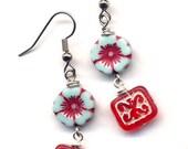 Red White and Blue Earrings, Surgical Steel Earrings, Red Blue Earrings, Floral Earrings, Flower Earrings, Czech Glass Earrings, AnnaArt72