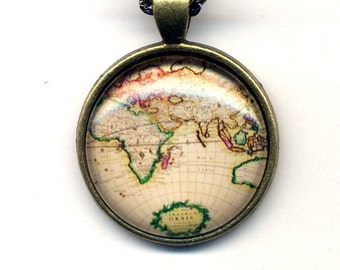 Map Necklace, Vintage Map Penand Long Necklace, Old Map Necklace, Geographic Necklace, Geography Jewelry