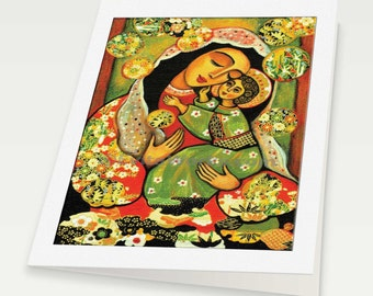 Virgin Mary art Mary and Jesus child Madonna with Child mother child art Christian folk art, woman card, blank art card, 6x8