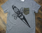 unisex dagger tee with camo pocket sizes m, l, xl, 2xl