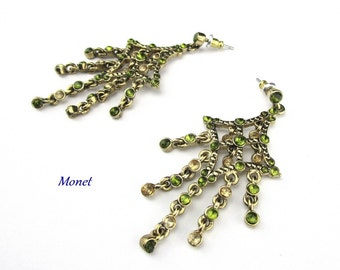 Monet Earrings  Rhinestone Green Drop pierce post