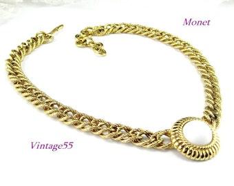 Monet Necklace Gold tone White pendant