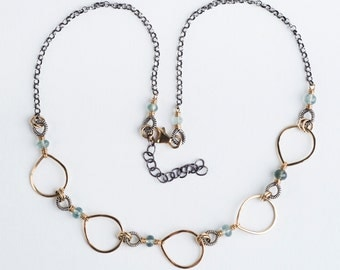 Yvet: Two-toned Collar Necklace, Gold & Silver, Moss Aquamarine Gemstone, Tear drop, Blue, Gray, Coiled, Forged, Oxidized, Antiqued