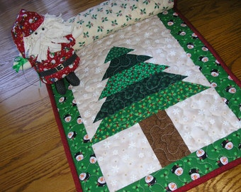 Twin Trees Quilted Table Runner 002 -  16  x 40 inches