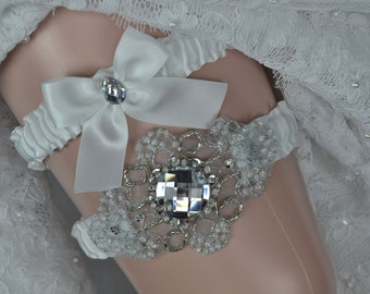 Wedding Garter Set, White Satin Garter Set, Garter Belt