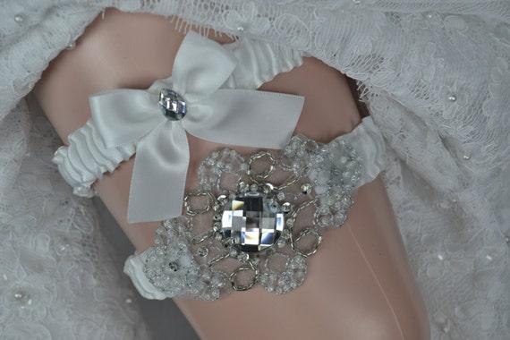 Wedding Garter Set, White Satin Garter Set, Garter Belt