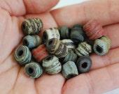 Handmade Ceramic Beads - Spiral Beads - Chocolate Stoneware Clay - Rustic Glazes - Jewelry Supplies - Made to Order - Marsha Neal Studio