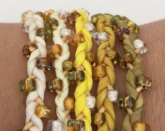 DIY Silk Wrap Bracelet or Silk Cord Kit DIY Bracelet DIY Craft Kit You Make Five Adult Friendship Bracelets in Yellow Gold Palette