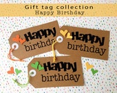 Happy Birthday Gift Tags / Handmade Tags / Birthday Tags / Package Wrapping Tag / Kraft Paper