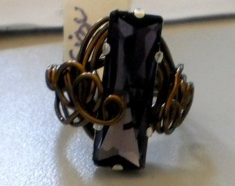 Amethyst Rhinestone Wrapped in Bronze Wire