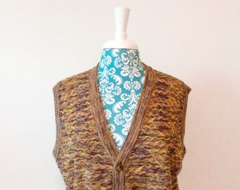 Vintage 1980's men's vest // Missoni sweater // brown cotton cardigan