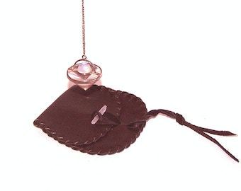 Leather Pendulum Pouch..BROWN... Smooth