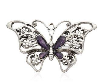 Metal w/ Purple Enamel Butterfly - Sold Individually - #PND149