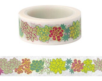 Succulents Masking Tape / Washi Tape / Deco Tape - 15mm x 6m long