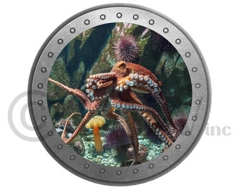 Porthole Octopus vinyl wall lettering kids room decor boat ocean theme wall decal self adhesive sticker