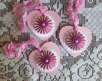 Set of three Valentine/Love ornaments or gift tags.