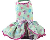 Easter Dog Dress Gingham Easter Eggs and Butterflies