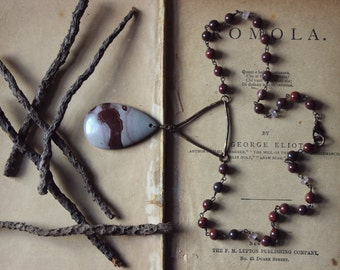 Ogham. Rustic Primitive Bohemian Textured Brass, Hand Beaded Jasper and Rose Quartz Necklace.