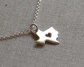 Tiny Texas Heart Necklace in Sterling Silver 1259