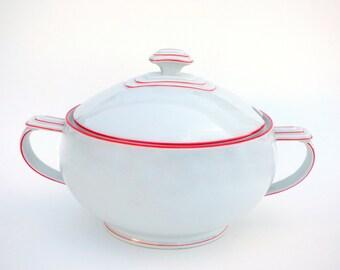Vintage Art Deco EPIAG Soup Tureen: 1920's Czech Minimalist Architectural Motif, White Porcelain w/ Orange Red Trim