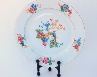 Charming Vintage EPIAG Dinner Plates: Set of 7 D.F. Czechoslovakia Chinoiserie Style Porcelain Plates, Bird with Bold Floral Motif