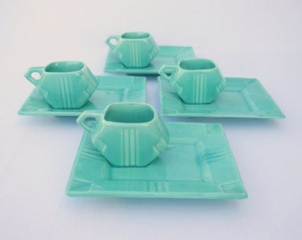 Modernist Luncheon Set for 4: Stangl Deco Delight aka Square Modern #1081 in Fulper Fayence Silver Green, 1920s Art Deco