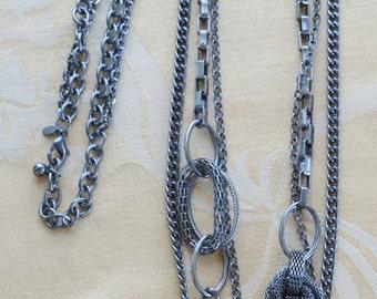 """Lovely Vintage Gun Metal Gray Long Multi-Strand Chain Link Necklace, Adjustable, """"Premier Designs"""" (J7)"""